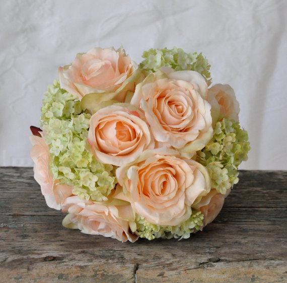 زفاف - Silk Wedding Bouquet, Wedding Bouquet, Keepsake Bouquet, Bridal Bouquet Coral rose and green hydrangea wedding bouquet made of silk roses.