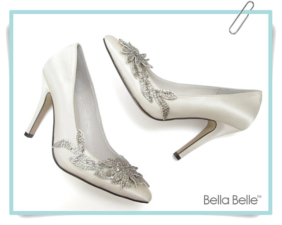 Mariage - Ivory Vine Crystal Applique Wedding Shoes with Silver Beading Embellished Satin Bridal, Bella Belle DAWN