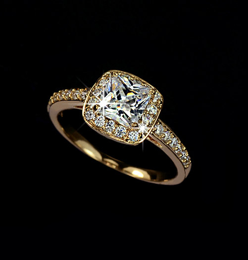 Princess Cut 1 25 Carat Cubic Zirconia Halo Engagement Gold Ring Wedding Square Cushion Accent Gift For Her Ar0013a