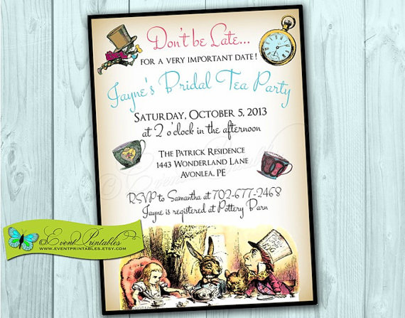 Alice In Wonderland Printable Invitation Bridal Shower Invite Birthday Baby DIY Vintage Mad Hatter Tea Party By Event Printables