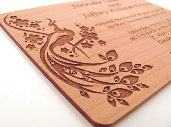 engraved wooden wedding invitation real wood invitation peacock