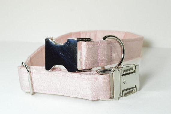 زفاف - Designer Wedding Dog Collar - Pale Pink Silk With Metal Hardware - Wedding dog collar, pink, designer dog collar, matching leash