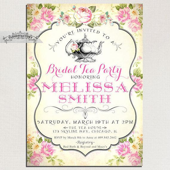Bridal shower tea party invitations vintage style pink yellow shabby bridal shower tea party invitations vintage style pink yellow shabby chic roses digital printable file or printed cards no751 filmwisefo Images