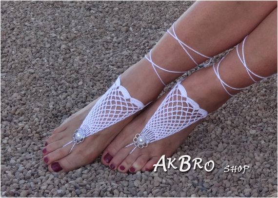 Mariage - Crochet Barefoot Sandals,Beach Pool,Nude shoes,Foot jewelry,Wedding shoes,White sandles