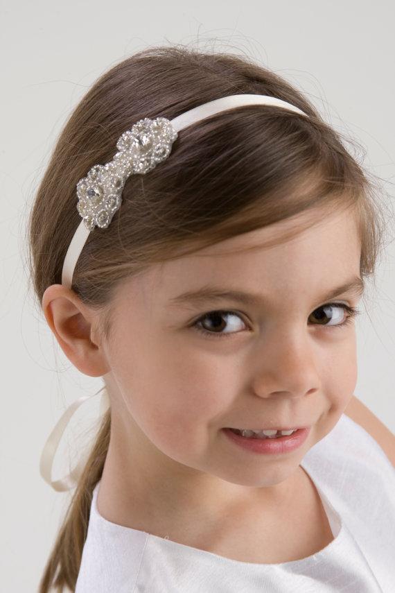 madeline flower girl headband rhinestone headband wedding headpiece rhinestone beaded headpiece halo free shipping