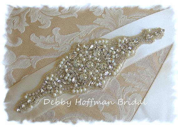 Mariage - Rhinestone Crystal Pearl Wedding Belt, Rhinestone Pearl Wedding Dress Sash, Pearl Crystal Bridal Sash, No. 5000S2.25, Wedding Accessories