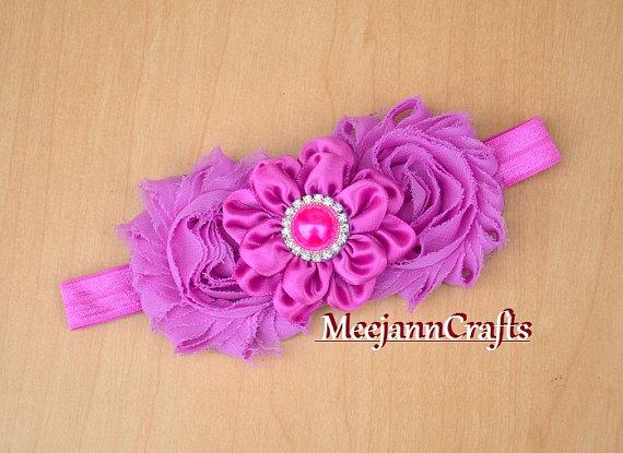 Hochzeit - Lilac/Soft Violet Shabby Chic Babies Head bows with Hairband. Pageant Girls Headband. Flower Girl Wedding headband... Tea Party Headband...