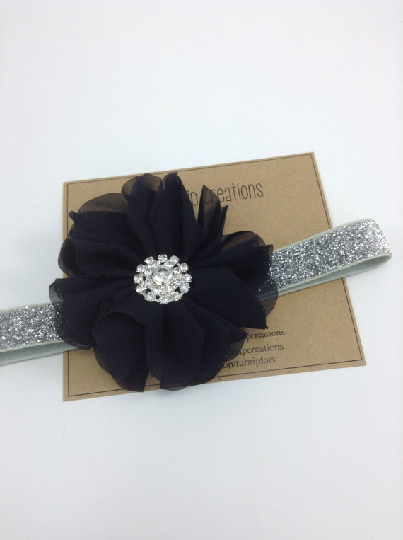Hochzeit - Black & Silver Headband Christmas Headband Ballerina Flower Headband Glitter Wedding Flower Girl Headband Rhinestone