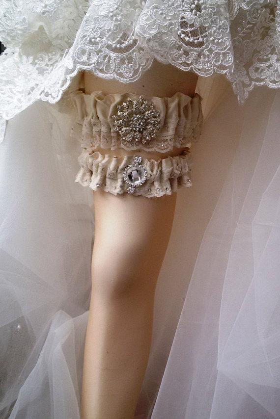 Wedding - Wedding leg garter, Wedding Garter Set , Ribbon Garter Set , Wedding Accessory, İvory Lace accessories, Bridal garter