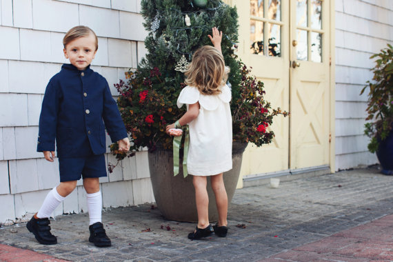 Mariage - Navy Blue Nehhru Suit with Shorts for Ring Bearer or Special Occasion