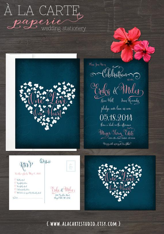 Hochzeit - One Love, One Heart  - Navy Blue Chalkboard Wedding Invitation Card and RSVP postcard