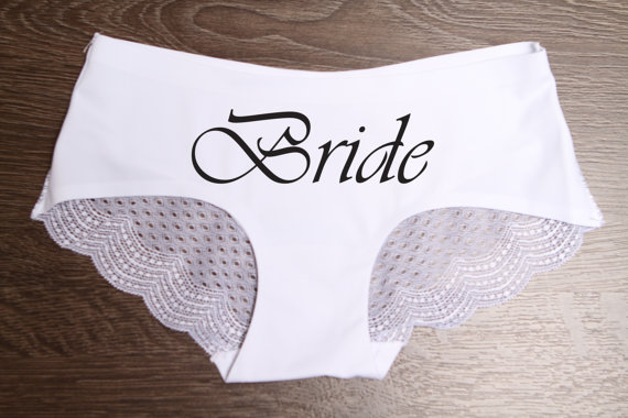 bride underwear lace scalloped panties bridal shower wedding gift