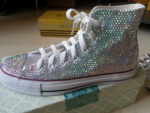 Hochzeit - bling flat shoes sparkly AB crystals bridal shoes flats wedding converse shoes bridal converse bling sparkle girls flat shoes