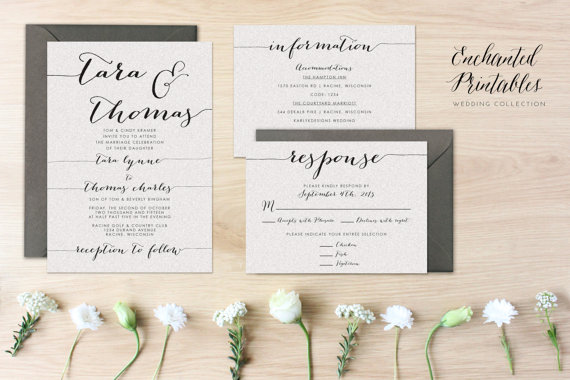 Wedding - DIY Printable Wedding Invitation Set, Wedding Invitation Suite With Invite, RSVP and Detail Card, Simple Wedding Invites