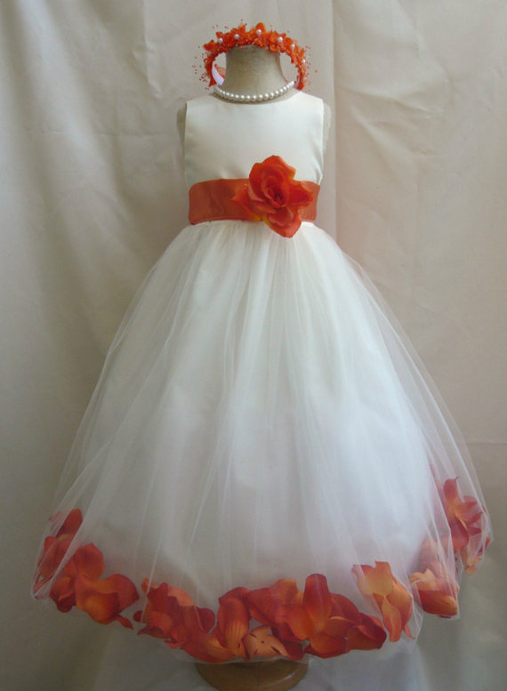 Flower Girl Dresses Ivory With Orange Burnt Rose Petal Dress