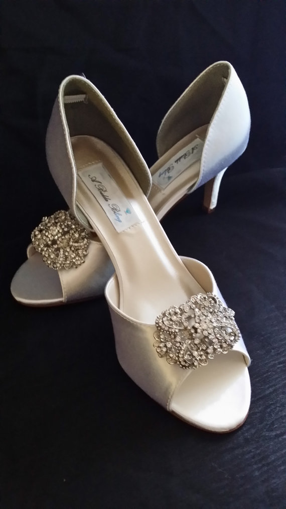Mariage - Wedding Shoes with Vintage Style Crystal Design Over 100 Custom Color Choices - Ivory Wedding Shoes