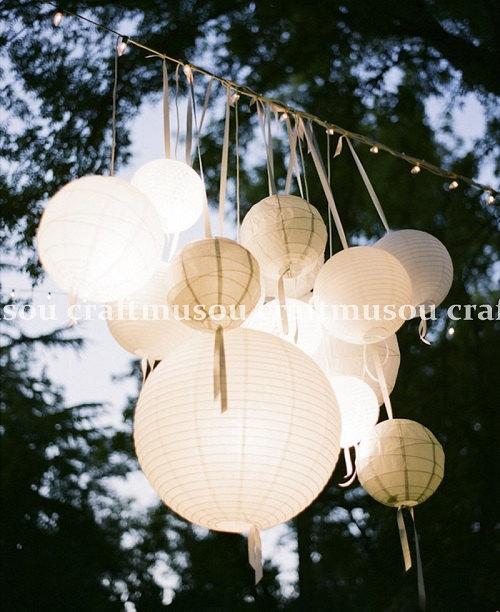 "Свадьба - 40 SET Round Paper Lantern Led Set 5x18"" 10x16"" 10x14"" 10x12"" 5x8"" for Wedding Party Floral Event Sky Decoration"