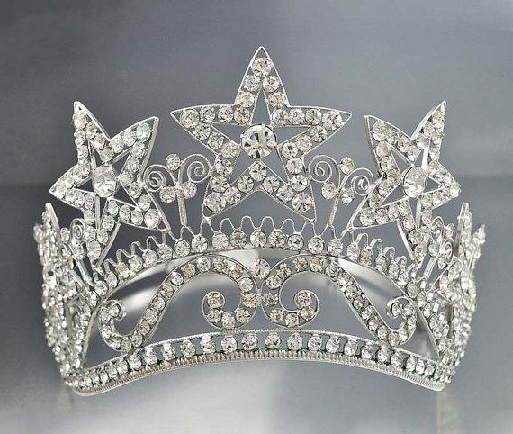 Mariage - Art Deco Bridal Tiara, Crystal Star Tiara, Crystal Wedding Crown, Rhinestone Tiara, Wedding Tiara Vintage Wedding Jewelry Rhinestone Jewelry