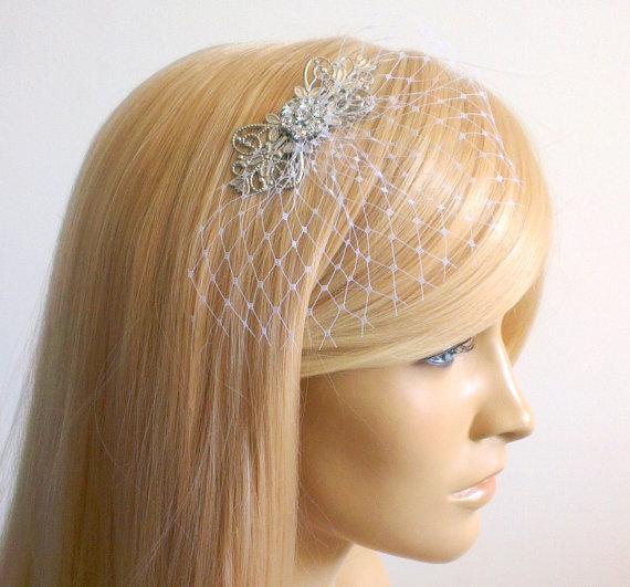 Mariage - Small Veil ,Bridal head piece ,Bridal Hair Piece,wedding veil,bridal hair ,, bridal head piece