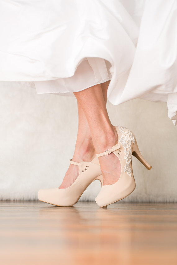 Hochzeit - Nude Wedding Shoes - Bridal Shoes, Nude Mary Jane Heels, Wedding Heels, Nude Heels with Ivory Lace. US Size 8.5