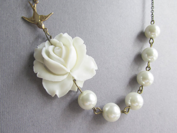 Wedding - Bridal Jewelry,Bridesmaid Jewelry Set,Statement Necklace,White Flower Necklace,Ivory Pearl Jewelry,Beadwork,GiftFree matching earrings