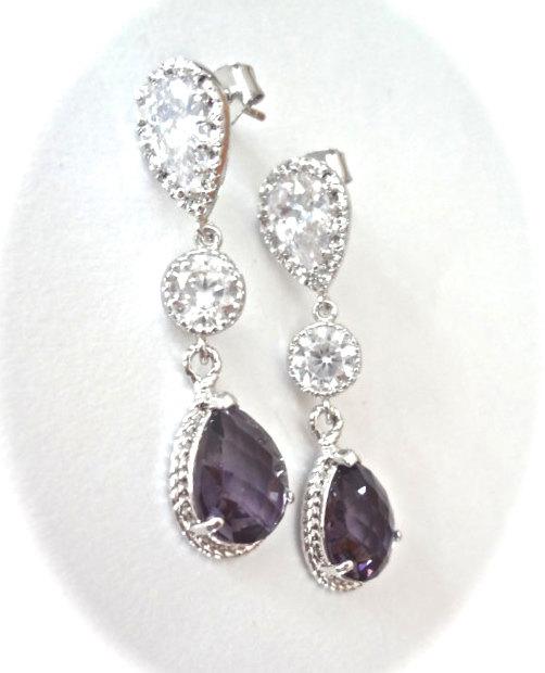 Wedding - Bridal jewelry - Amethyst earrings - Long - Teardrops - Sparkling - Cubic zirconias - Sterling silver posts - Wedding earrings -