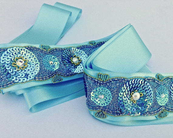 Bridal Sash Wedding Sash In Caribbean Blue With Beaded Embroidery