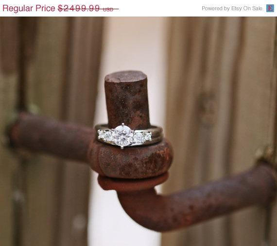 Mariage - 15% Off Round Brilliant Cut Diamond Engagement Ring Wedding Band 14k White Gold 1.21ctw S9585