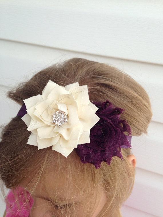 Mariage - Ivory plum headband ivory lotus flower, plum chiffon flower on plum Elastic Headband baby toddler child women wedding flower girl gift baby