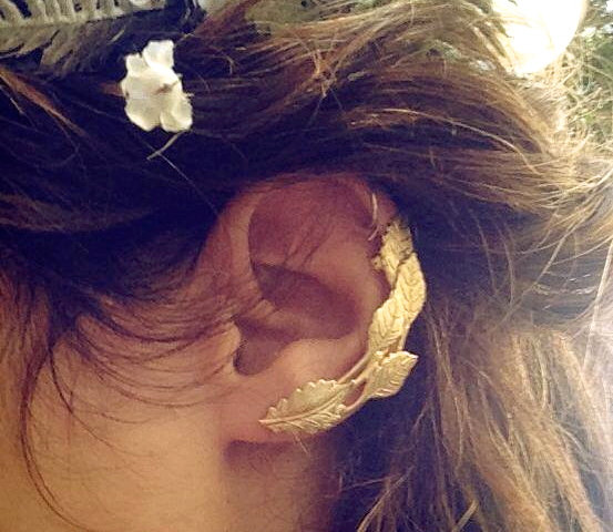 Mariage - Ivy Ear Cuff, Gold Leaves Earring, Gold Plated, Ear Climber, Ancient Greek Jewelry, Boho Chic, Bohemian Ear Cuff, Hand Made, Bridal Earrings