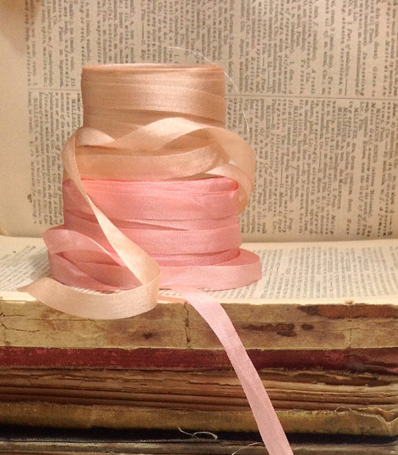 Свадьба - light pink or champagne nude small silk ribbon