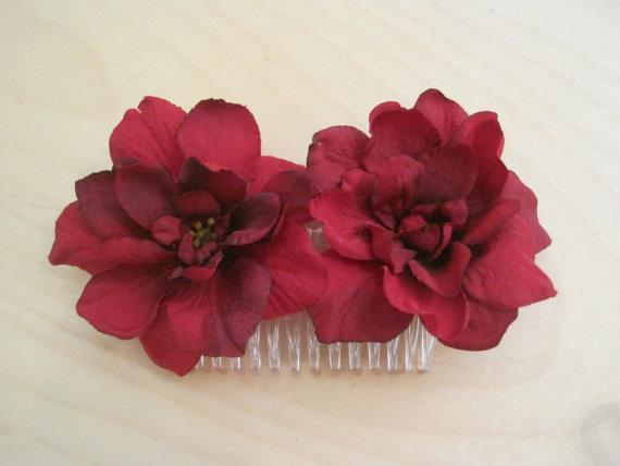 Свадьба - Deep Red Double Apple Blossom Silk Flower Hair Comb