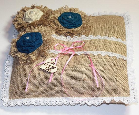 Wedding - Ring Bearer Burlap Pillow - Pillow With Burlap Flowers - Wedding Ring Pillow - Wedding Ring Alternative Pillow - Ring Bearer