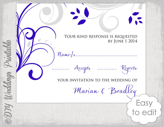 response card template diy royal blue silver gray scroll wedding rsvp card digital printable you edit word download