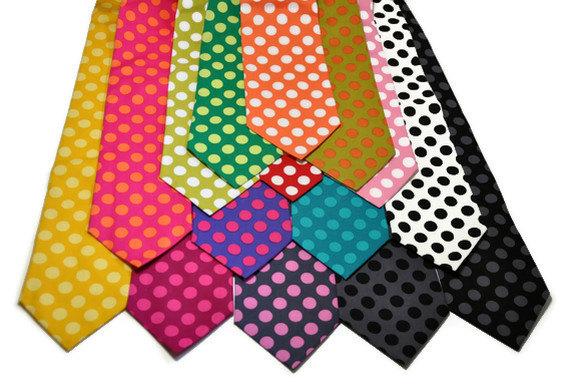 زفاف - Neckties - Boy's Tie - Men's Necktie - Polka Dots in Lots of Colors