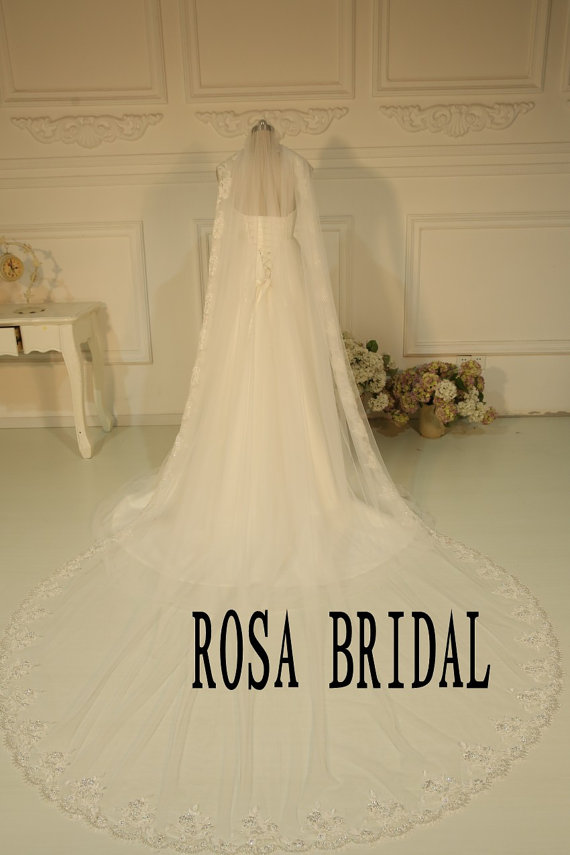 2T Wedding veil with Beaded cathedral Wedding lace veil 1T bridal veil