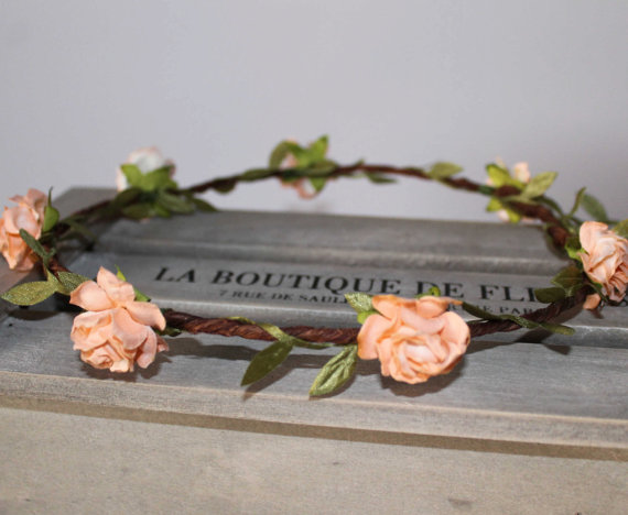 Wedding - Peach Rose Floral Crown, Festival Halo Flower Girl Garland, Peach Flower Garland, Wedding Headband