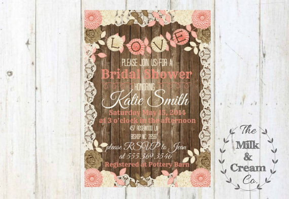 Hochzeit - Shabby Chic Rustic Bridal Shower Invite,  Invitation with Flowers, Simple Casual, Digital File, Rustic Wood Wedding