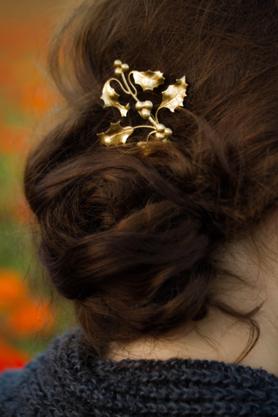 Hochzeit - Gold Holly Berry Leaves Hair Pin Holly Leaves Bobby Pin Fall  & Christmas Hair Pin Xmas Hair Winter Wedding Hair Accessory