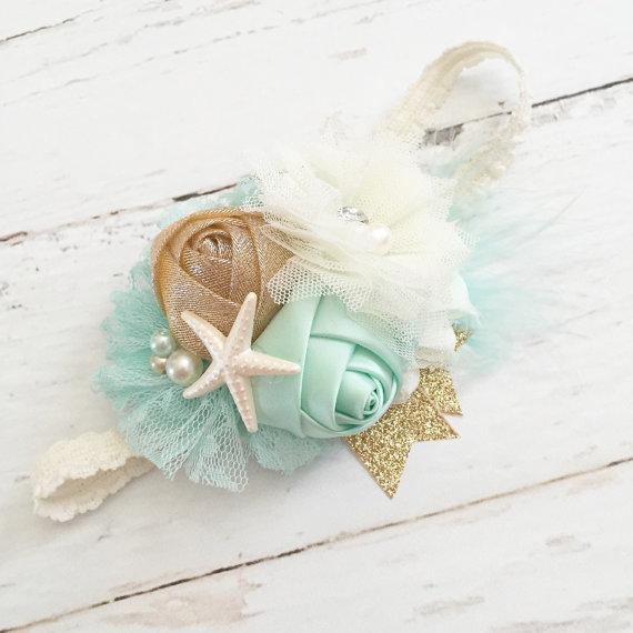 Wedding - mint ivory gold lace feather sparkle starfish headband-beach mermaid summer headband