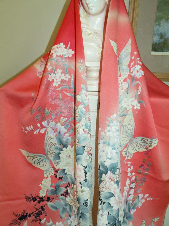 زفاف - Silk Kimono Fabric Scarf/ Shawl /Wrap..Bridal/Wedding..Chrysanthemum..Cherry Blossom..Butterflies..Peach Coral..Clutch available