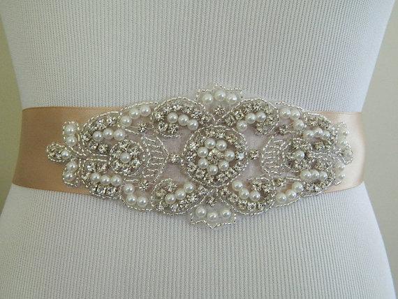 Rhinestone crystal pearl bridal sash pearl wedding dress for Pearl belt for wedding dress
