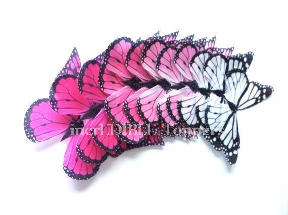 زفاف - Wedding Cake Topper - Edible Butterflies in 12 large Pink Ombre Monarchs - Cupcake Toppers, Butterfly Cake Decorations