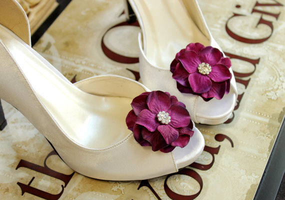 Свадьба - Sale 25% off Shoe clips Wedding Bridal Purple rhinestones Shoe Clips Bridal Flower Shoe Clips Weddings Bridal Accessories