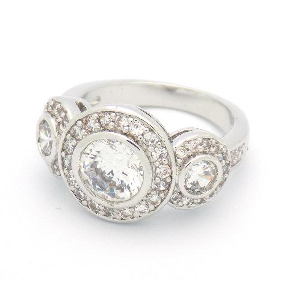 زفاف - Art Deco Engagement Ring Wedding Ring Vintage Inspired Three Stone Ring size 5 6 7 8 9 10 - MC1081951AZ