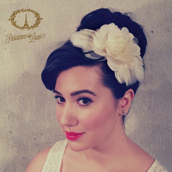 Feather Hair Clip Bridal Accessory Bridal Flower Hairclip