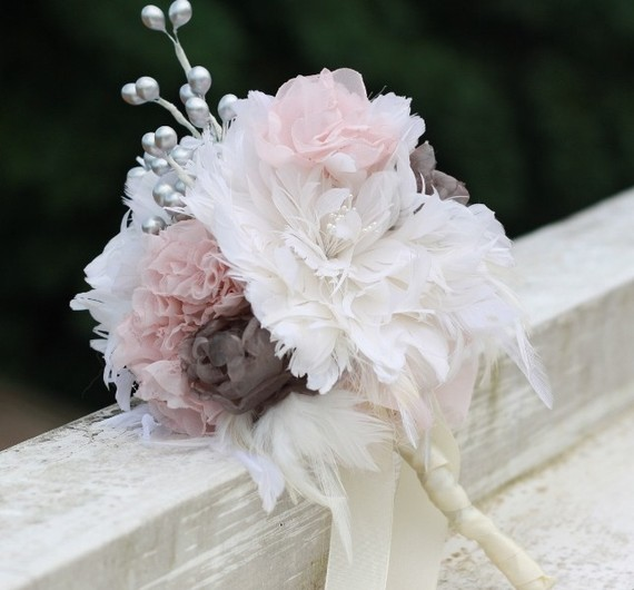 Feather Flower Bouquet With Fabric Flower And Berry Fillers 3 Tutorial Patterns W Accessories