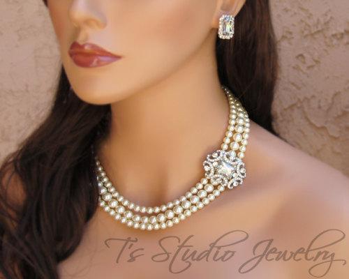 Mariage - Pearl Bridal Necklace Multi Strand Rhinestone Brooch Bride Wedding Jewelry - ANITA