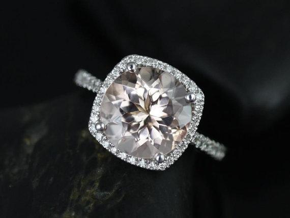 زفاف - Barra 10mm Size 14kt White Gold Morganite and Diamond Cushion Halo Engagement Ring (Other metals and stone options available)