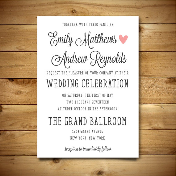 Printable Wedding Invitation Template Dark Grey Pink White – Word Document Invitation Template